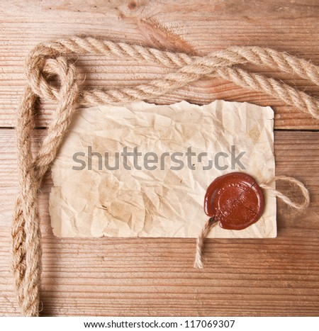 old paper with stamp - stock photo