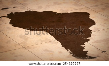 Old paper World Map, Macro, South America, A. - stock photo