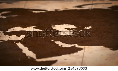 Old paper World Map, Macro, West Asia, B. - stock photo