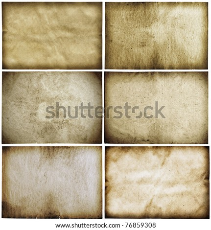 old papers set isolated on white background with clipping path - stock photo