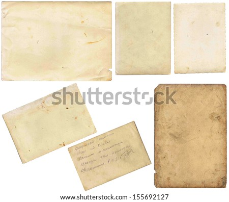 Old papers set isolated on white background with clipping path. Set of various old paper sheets. Vintage photo and book pages, cards, pieces isolated on white background with clipping path. - stock photo