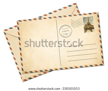 Old par avion postcard and envelope isolated - stock photo