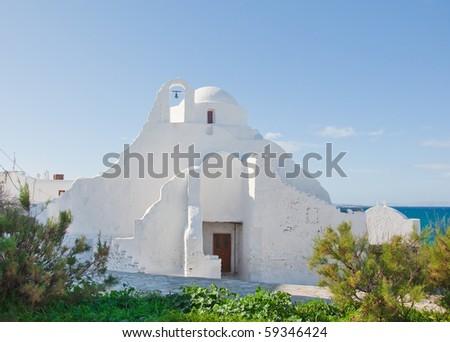 old Paraportiani church on the island of Mykonos... Greece. - stock photo