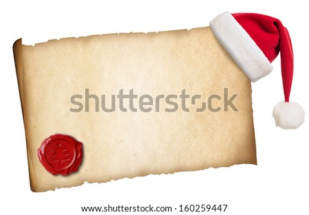Old parchment with Santa's hat and wax seal isolated - stock photo