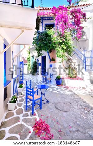 Old part of Skiathos town, traditional greek island town, Skiathos Island, Sporades archipelago, Greece, Europe - stock photo