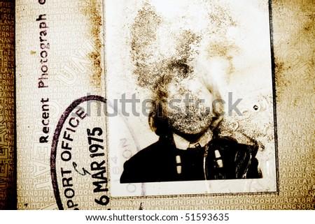 old passport photo - stock photo