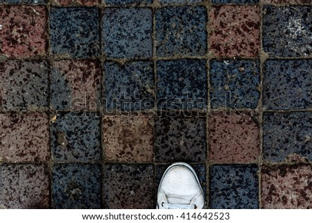 Old paving stones. Background. - stock photo