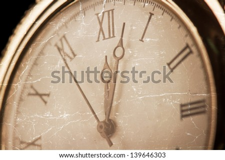 Old pcket watch close-up macro faded detail dial - stock photo