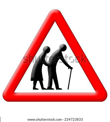 Old people crossing traffic sign isolated over white background - stock photo