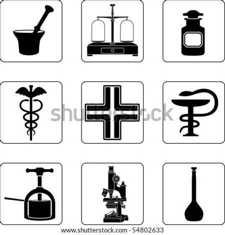 Old pharmacy objects in a nine square grid - stock photo