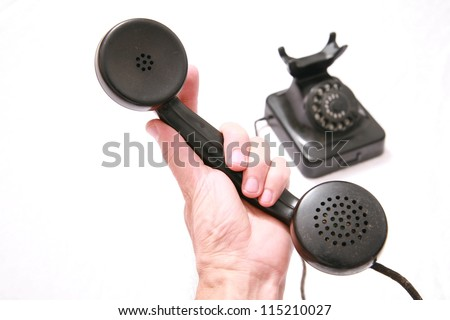 old phone isolated. - stock photo