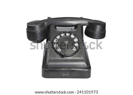 old phone isolated on white background - stock photo