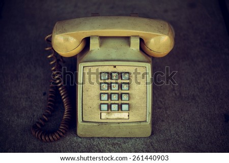 Old phones are good vintage condition. - stock photo