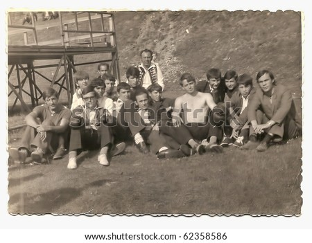 Old photo, group of young boxers posing outdoor - stock photo