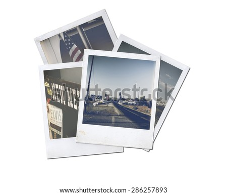 Old photo isolated on white.polaroid photo. vintage photo - stock photo