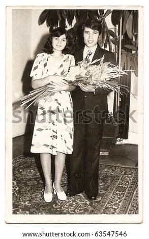 old photo of a young married couple - stock photo