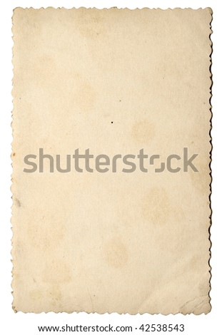 old photo paper texture isolated on white background - stock photo