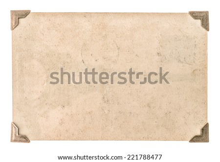 old photo paper with corner isolated on white background. grungy cardboard - stock photo