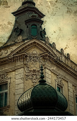 Old photo. Stone facade on classical building with ornaments and sculptures. Belgrade, Serbia. Vintage processed. - stock photo
