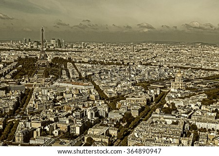 Old photo with aerial view, from Montparnasse tower, with Eiffel tower - stock photo