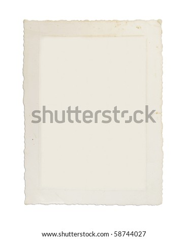 Old photograph, circa 1939, with ruffled edges, image removed - stock photo
