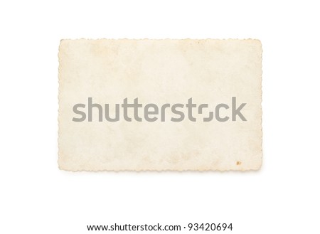 Old photograph isolated on white background - stock photo