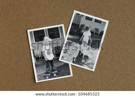 Old photographs from the 1970's of a little girl on a bulletin board. - stock photo