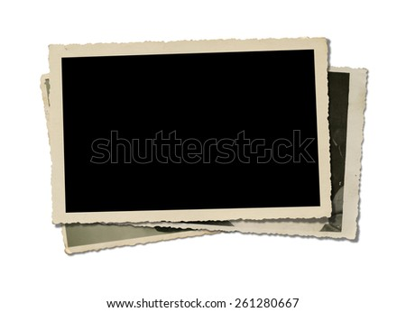 Old Photos. Isolated on white background.Clipping path. - stock photo