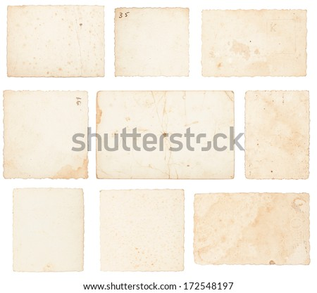 old photos paper on white background. - stock photo