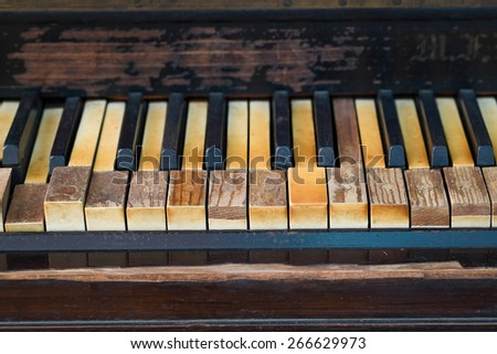 old piano keyboard - stock photo