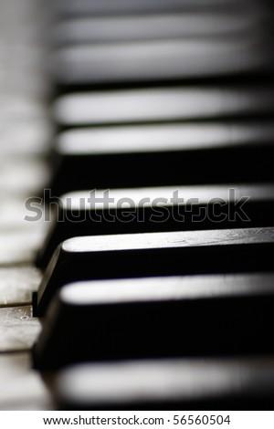 Old piano keys close up, selective focus - stock photo