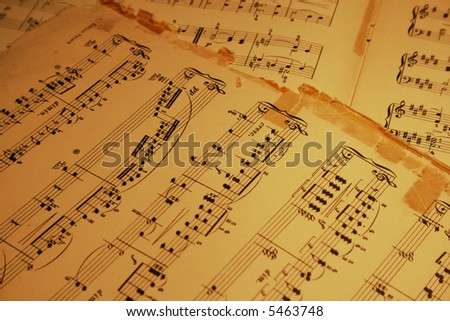 old piano sheet music - stock photo