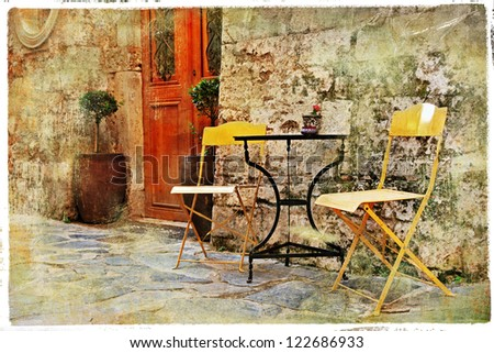 old pictorial greek streets - vintage artistic series - stock photo