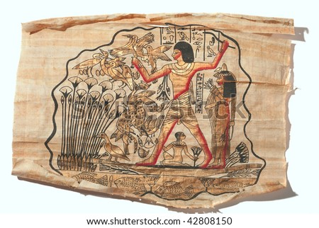 Old picture drawn on the papyrus in Egypt - stock photo