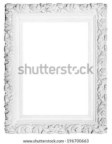 Old picture frame isolated on white background - stock photo