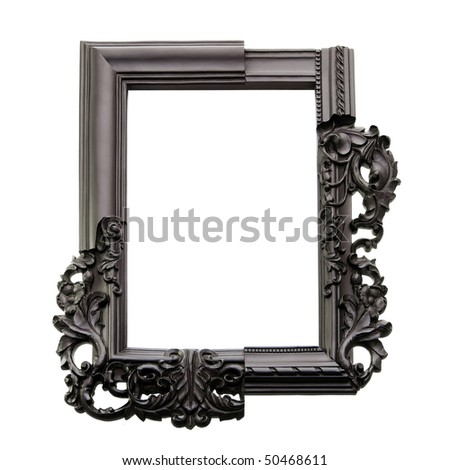 Old picture frame isolated on white with clipping path - stock photo