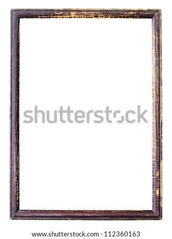 Old picture frame on white background. - stock photo