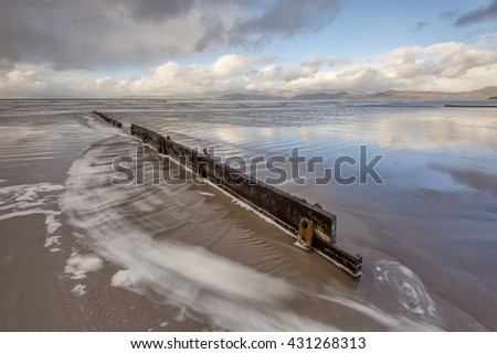Old Pier at the Rossbeigh Beach, Kerry, Ireland - stock photo