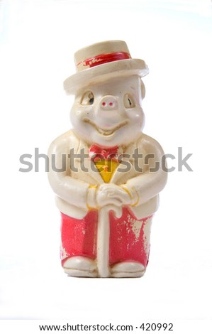 old piggy bank with white background - stock photo