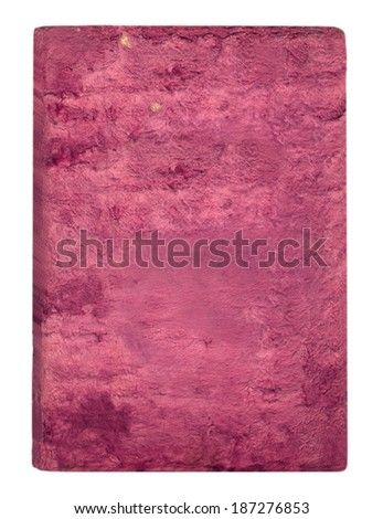 Old pink velvet cover isolated on white background - stock photo