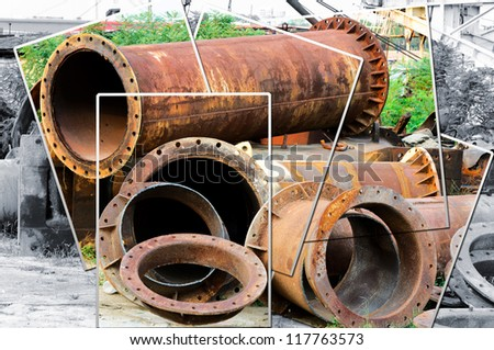 Old pipes on the junk yard collage - stock photo