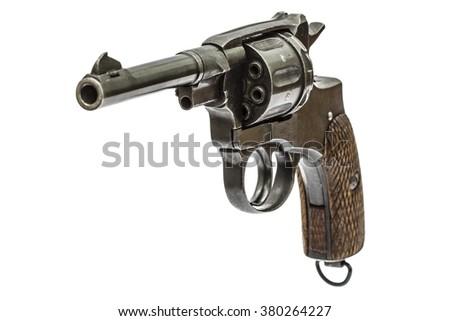 Old pistol, Isolated on white background - stock photo