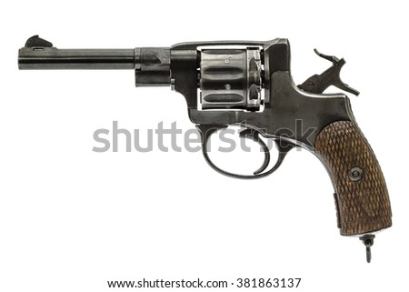 Old pistol with the hammer cocked, isolated on white background - stock photo