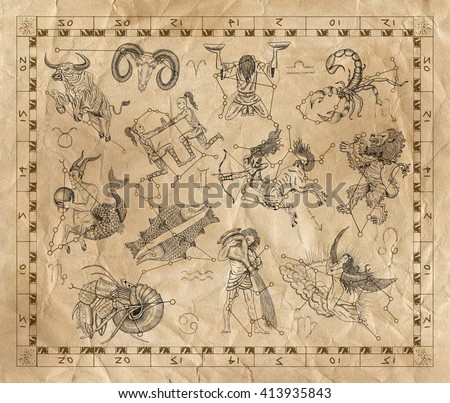 Old placard with Zodiac signs and constellations on paper background. Line art with hand drawn horoscope signs in grunge style. Vintage mystic and astrology illustration with texture background - stock photo