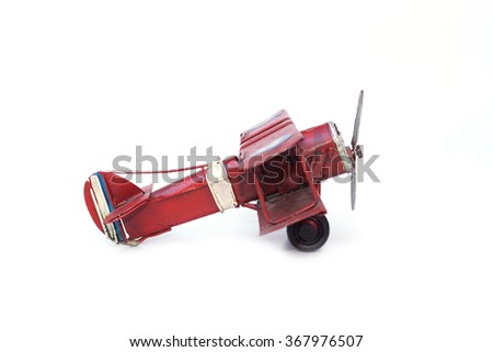 old plane toy isolated - stock photo