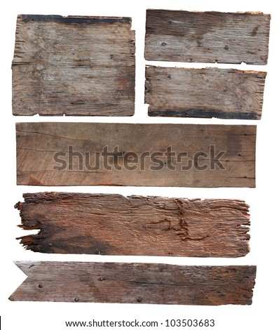 Old plank of wood isolated on white background (Save Paths For design work) - stock photo