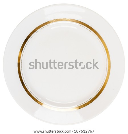Old plate isolated on white background - stock photo
