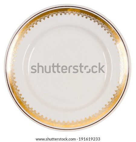 Old plate made in Soviet Union isolated on white - stock photo