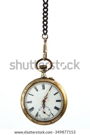 Old pocket clock - stock photo