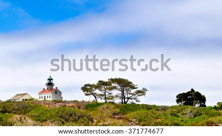 Old Point Loma Lighthouse at the Cabrillo National Monument - San Diego - USA - stock photo